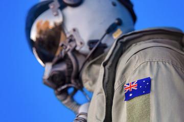Jet aircraft pilot flight suit uniform with Australia flag patch.