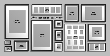 Full collection of IKEA Ribba photo frames. Real sizes. Vector set of black picture frames with white passepartout.