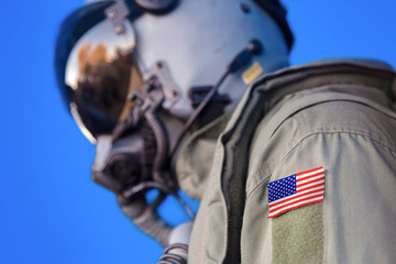 Jet aircraft pilot flight suit uniform with United States USA flag patch.