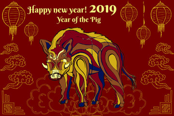 year; new; boar; chinese; pig; wild; vector; illustration; background; zodiac; happy; gold; sign; symbol; design; animal; card; red; lunar; decoration; greetingchina; art; asian; banner; celebration;