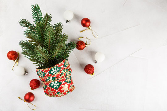 Small decorated Christmas tree with bells