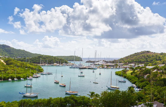 Falmouth bay. View from Shirely Heights, Antigua, West Indies
