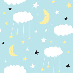 Seamless childish pattern with cute clouds, moon, stars. Creative scandinavian style kids texture for fabric, wrapping, textile, wallpaper, apparel. Vector illustration.