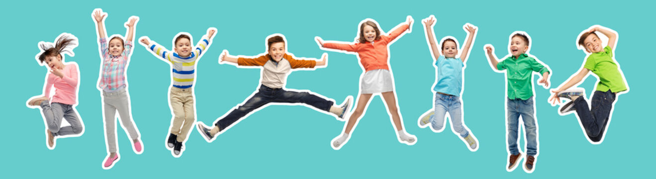 happiness, childhood, freedom, movement and people concept - magazine style collage of happy kids jumping in air over blue background