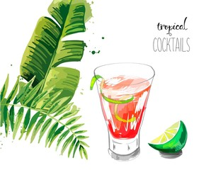 Cocktail. Summer tropical cocktail background with palm leaves.