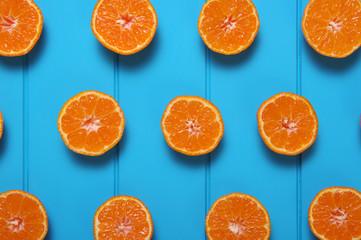 Oranges on wood  background