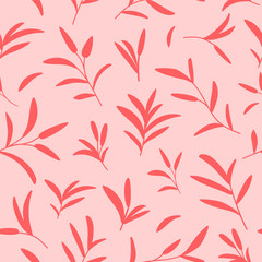 Vector decorative seamless botanical pattern in coral colors. Background design for natural cosmetics, wrapping paper, fabric prints.
