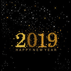 Black and gold 2019 New Year numerals designed with stars and sparkles