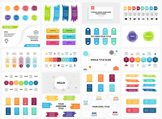 Vector banners infographic templates set. Arrows, brush strokes, quotes. Stickers presentation slide. Business labels concept infographics. 3, 4, 5, 6, 7, 8 options, parts, steps, processes.