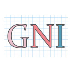 GNI (Gross National Income) acronym written on checkered paper sheet- vector illustration