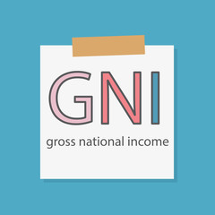 GNI Gross National Income written in a notebook paper- vector illustration