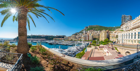 Wall Mural - View on Principality of Monaco with luxury yachts on port, French Riviera coast, Cote d'Azur, France
