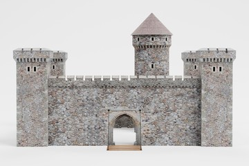 Realistic 3D Render of Medieval Castle Wall mural