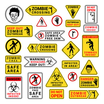 Zombie attention beware and caution sign set