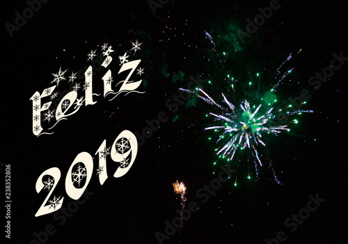 Feliz 2019 Y Fuegos Artificiales Verdes Stock Photo And Royalty