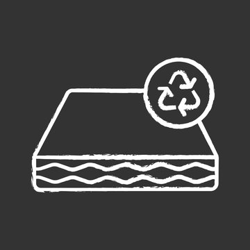 Ecological mattress recycling chalk icon
