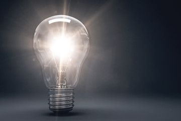 3D Illustration leuchtende Glühbirne
