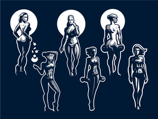 Woman fitness illustration.