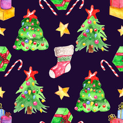 Seamless watercolor pattern. Christmas elements