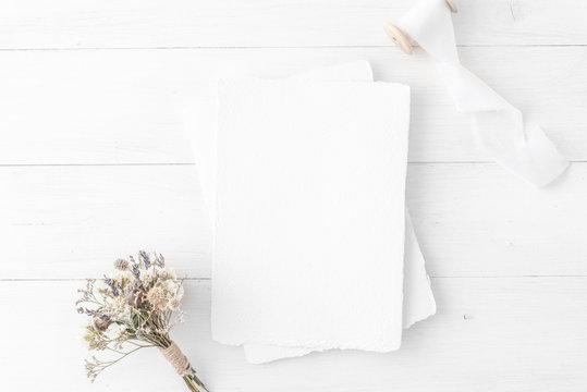Feminine wedding, birthday desktop mock-up. Invitation card mockup, template Blank greeting cards, rspv card, 5x7, card, envelope. White silk ribbons, dry flowers.  Minimal, clean modern