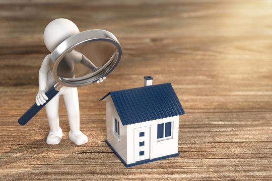 3D Illustration weißes Männchen mit Lupe Haus