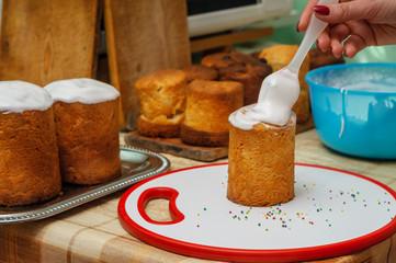 sweet glaze on Easter cakes