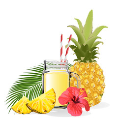 Pineapple smoothie. Healthy lifestyle concept. Vector illustration. Isolated on a white background.