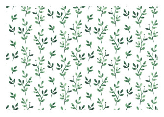 Green floral seamless watercolor pattern