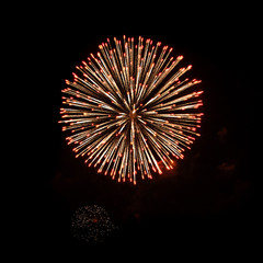 Beautiful Bright fireworks isolated on black background