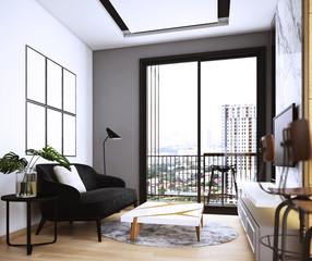 Livingroom design ,interior of modern cozy style, 3d Rendering, 3d illustration