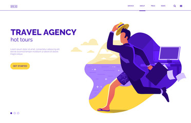 Travel agency home page design concept. Man in suit running from office to the beach vector illustration. Summer vacation web banner. Tourism to tropical countries. Special offer on travel. Eps 10