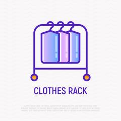 Clothes rack, rail thin line icon. Modern vector illustration of furniture for apparel storage.