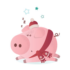 New Year vector illustration. Cute pig in a winter scarf