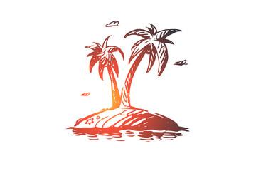 Palm, island, tree, summer, beach concept. Hand drawn isolated vector.