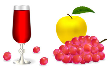 A glass of red wine, yellow apple and a realistic 3d bunch of pink grapes with shadows on a white background. Vector illustration.