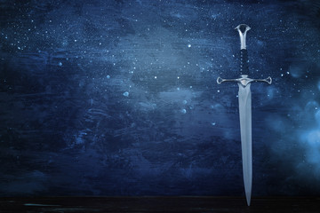 low key banner of silver sword. fantasy medieval period.