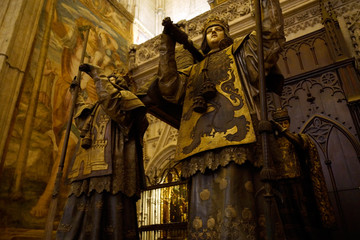 Sevilla (Spain). Mausoleum of Christopher Columbus' tomb inside the Cathedral of Seville