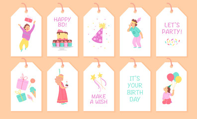 Vector collection of children birthday party tags and cards with happy boy and girl characters, bd cake, hat, gift box, confetti, balloons and text congratulations. Flat cartoon style. Decor elements.