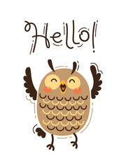 A happy owl greets you Hello. Vector illustration in cartoon style