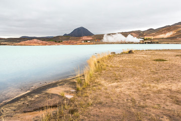 View on blue lake in myvatn area, iceland