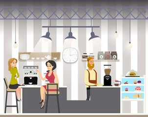 Business Woman Drink Coffe in Cafe