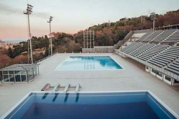 Olympic swimming pools in Barcelona at sunset