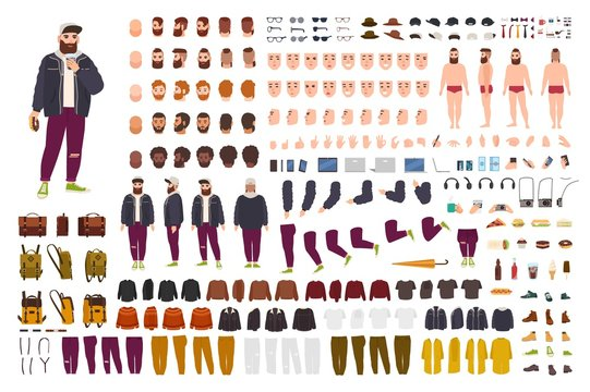 Fat guy constructor set or DIY kit. Bundle of flat cartoon character body parts, poses, gestures, clothes isolated on white background. Front, side, back view. Flat cartoon vector illustration.