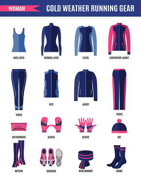 Winter running clothes set for woman in flat style.
