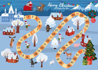 Board game Merry Christmas and Happy New Year. Santa Claus in a sleigh on the Magic Deer rides through the winter country to the Christmas tree. Forest animals, snowman, helpers Elves, vector