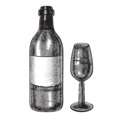bottle of wine and a glass. illustration in engraving style