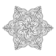 Vector abstract black and white ethnic star shape mandala motif