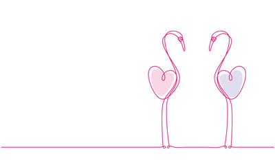 Pink flamingo. Couple of love birds and a heart. Continuous line drawing.
