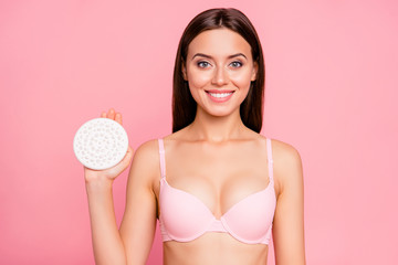 Close-up portrait of nice cool sweet attractive charming nude cheerful girl demonstrating shower brush massage fresh smooth perfect clean clear skin isolated over pink background