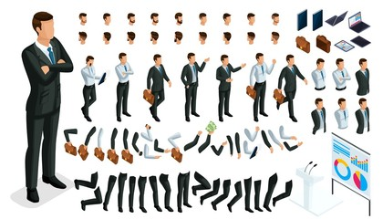 Large isometric Set of gestures of hands and feet of men, 3D character businessman. Create your own isometric office worker walks around or sits for vector illustrations